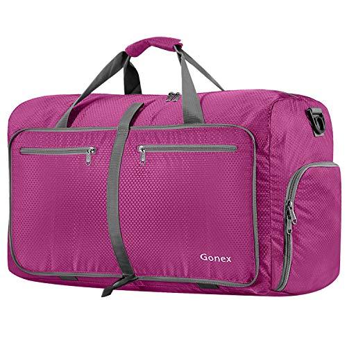 Gonex 80L Borsa da Viaggio Borsoni Pieghevole Impermeabile per Viaggio Sport Palestra Campeggio Bagaglio a Mano Tracolla con Grande Capacità di 80 Litri (Rosa)