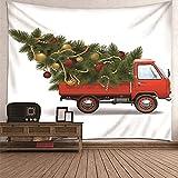 KnBoB Tapiz Decorativo Pared Árbol de Navidad del Coche 210 x 140 CM Tejido Poliester Impermeable Decoracion Hogar