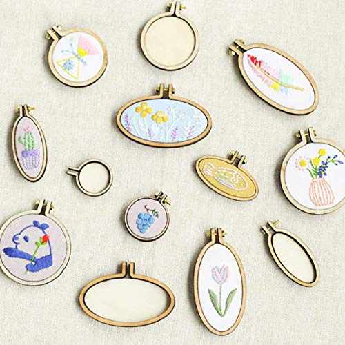 10 Sets Embroidery Hoop Mini Tiny Wooden Frames DIY Creative Gifts Small Pendant for Embroidery and Cross Stitch, DIY Pendants, Crafts Handy Sewing and Hanging, Jewelry Making
