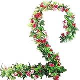 BlueXP 2 Pièce 230cm Guirlande de Roses Artificielles avec Feuilles Vertes à Suspendre Fleur Guirlande en Soie Lierre Vigne pour Maison cour Clôture Noël Décoration de Jardin de Mariage Rose Rouge