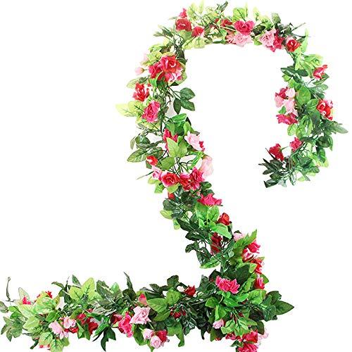 BlueXP 2 Stück 230cm Künstliche Blume Girlanden Kunstseide Rosen Blumen Girlande Simulation Hängende Dekoration Blumen und Blätter Dekor Zuhause Hochzeit Party Garten Faux Vine Rattan Rose Rot