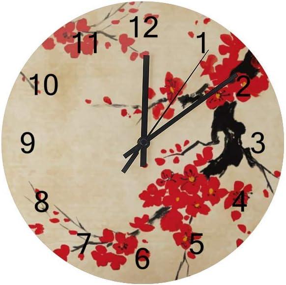 Wooden Wall Clocks Silent Hanging Clock Round Retro Farmhouse Wall Clock Oriental Art Cherry Branch Quartz Battery Operated Decor Clocks Kitchen Living Room Bedroom Office