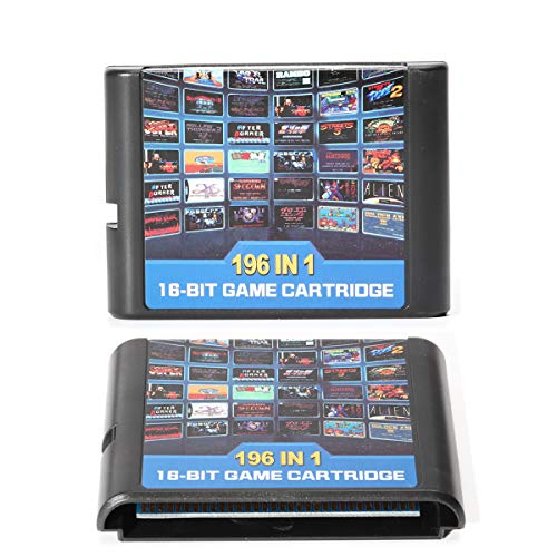 Genesis MegaDrive 196-in-1 Game Cartridge Include Contra Gunstar Heroes for USA, European Console