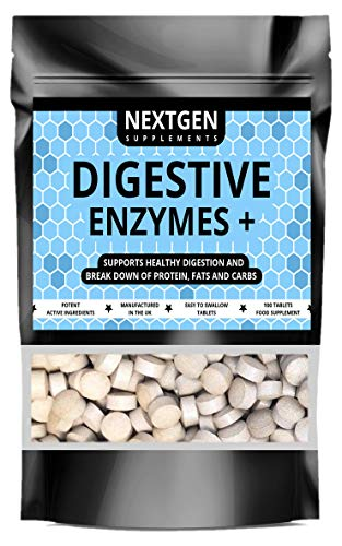 Digestive Enzymes Pills for Healthy Digestion Support, Gas & Bloating Relief with Betaine HCL & Peppermint, Healthy Gut - 100 Tablets