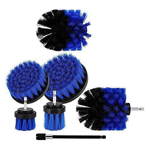 JQDMBH Cepillo para Limpiar,Cepillo Limpiacoches Conjunto de cepillos eléctricos, Conjunto de 7, para Limpiar Pinceles y Pisos de baldosas de baño, Cocina y cepillos de Coches. (Color : Blue)