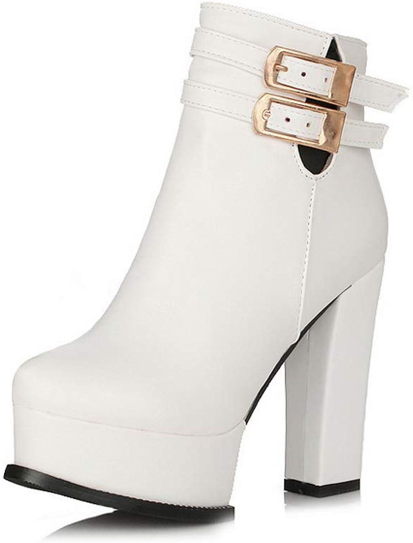 AN Womens Chunky Heels Metal Buckles Platform Urethane Boots DKU02562