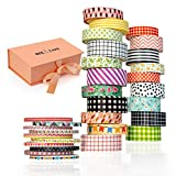 Washi Tape Set Gift Box, 30 Rolls 3 Sizes 15mm 10mm and 3mm Arts and Crafts, Decorative Masking Craft Cute Tape, Great Scrapbooking Tape Set, DIY Bullet Journal, Planner Washy Tape