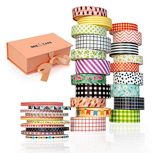Washi Tape Set Gift Box, 30 Rolls 3 Sizes 15mm 10mm and 3mm Arts and Crafts,...