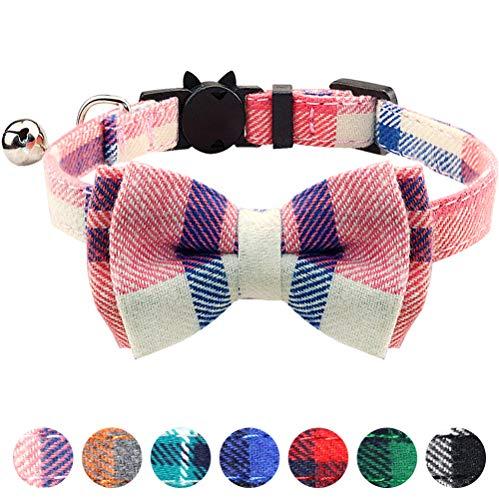 TagME Liberación rápida Collar de Gato, con Pajarita & Campana, Ajustable de 18 a 25 cm, Rosado,1 Paquete