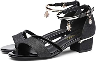GLJJQMY Sandals Female Summer Fashion Fairy Wind Word Buckle in The Trend to Thick Women's Sandals (Color : Black, Size : EU 38/UK5.5/CN38)