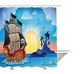 Yeuss Piraten-Duschvorhang, antikes Schiff auf verwirbelten Wellen in der Nähe von kleinen exotischen Insel Palmen Sonnenuntergang Print,Stoff-Badezimmer-Dekor-Set mit Haken,Multicolor