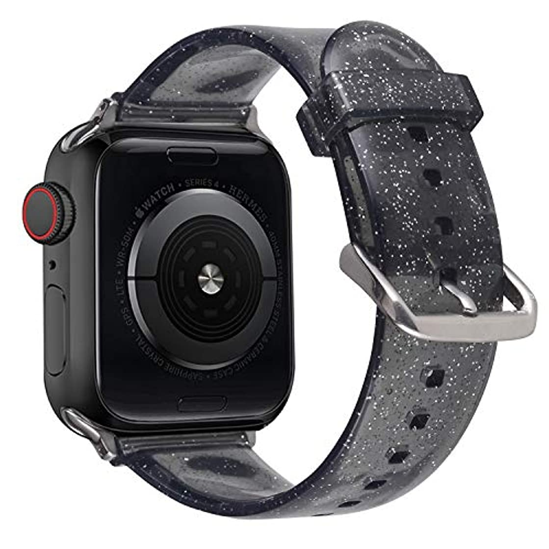 Wolait Compatible with Apple Watch Band 38mm 40mm, Premium Clear Glitter Soft Silicone Bracelet for iWatch Series 4 Series 3 Series 2 Series 1 Women Girls (38mm/40mm Black+Silver)