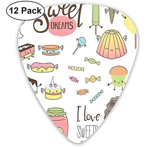 Sweet Dreams Adolescente Soñando Sobre Dulces Personajes Doodle Caras de dibujos animados Kawaii Multicolor (paquete de 12)