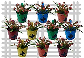 Railling planter impex Round Dotted Butterfly Planter (Multicolour) - Pack of 10