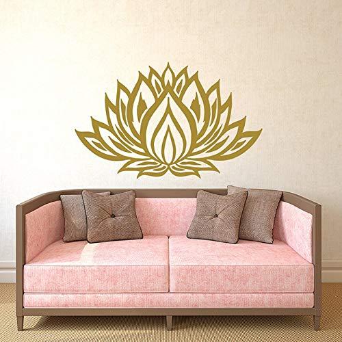Calcomanía de pared de loto, pegatina de estudio de yoga, calcomanía de Mandala de loto, arte de pared, adhesivo bohemio para decoración del hogar, A7 57x36cm