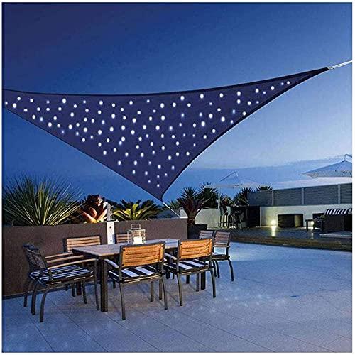 Toldo Vela De Sombra con Luces LED, Triangular Impermeable, Protección Rayos UV y HDPE Transpirable Toldo Vela De Sombra para Patio, Exteriores, Jardín, Azul 2 x 2 x 2 m
