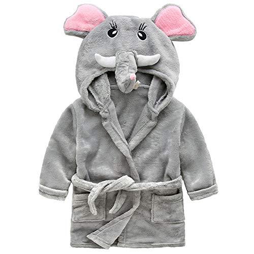LSHEL Kinder Bademantel Jungen Mädchen Kapuzen Frottee Bademäntel, Cartoon Tier Pyjamas Nachtwäsche für Kleinkind, Elefant, 116