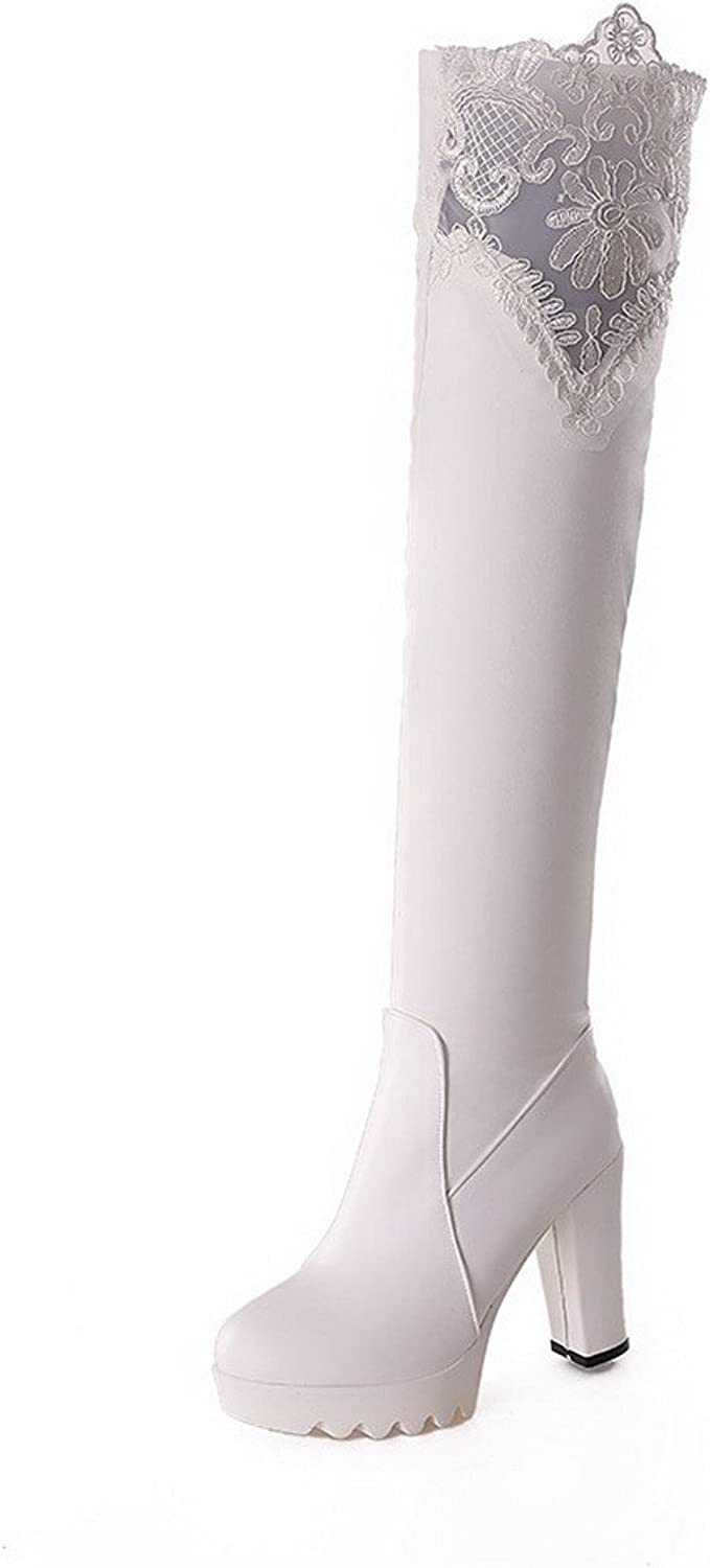WeiPoot Women's Solid Round Closed Toe Blend Materials PU Above-The-Knee Boots