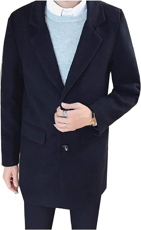 77636d5d FieerMen Lapel Wool Blend Button-Up Fit Mid LengthThin LengthThin  LengthThin Worsted Coat c4b651