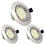LED Einbaustrahler dimmbar ohne Dimmer GU10 6W Warmweiß 3000K schwenkbar Einbauleuchten 550LM mit 82RA als CRI Runder Zinklegierungr 230v LED Spot IP20 Einbaulampen (3er Set)