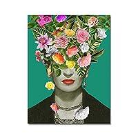スペインの現代シダの花の中にアートの定義とフリーダ・カーロポスター印刷ビンテージ水彩画の肖像画キャンバスの家の壁の芸術の装飾、アンフレーム、自画像を煙,A,30×40cm