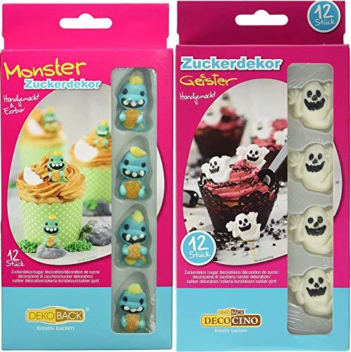 Dekoback Set   aus Zucker   Monster   Geister   Cupcake, Tortendeko  Halloween   Kindergeburtstag   essbar