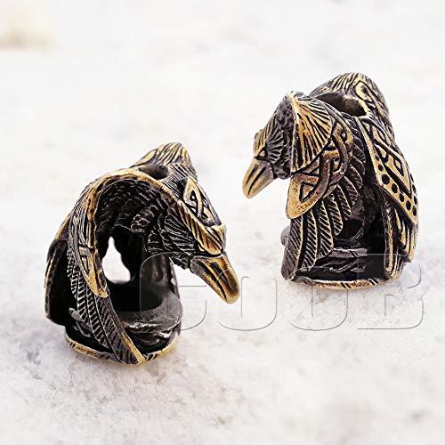 CooB EDC Paracord Bead Beads, Beard Bead, Charm, Knife Lanyard Bead Raven. Metal Hand-Casted Paracord Lanyard Beads Charms for Knife Lanyard Accessories. Animals Collection 1pcs/Lot (Raven Bronze)