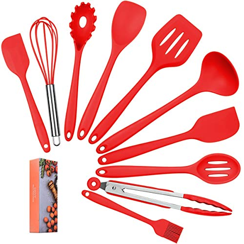 COVVY Home Silicone Kitchen Utensils Set(10 Piece) Heat Resistant Baking & Cooking Utensils Non Stick - Non Scratch Cooking Utensils Kitchen Good Helper (Red)