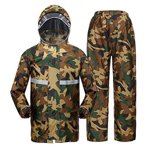 QDY-Rain Suit Chubasquero Transpirable Impermeable de Camuflaje con Capucha y Pantalones de Lluvia con Tira Reflectante para Golf y Pesca al Aire Libre