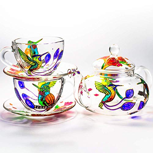 Hummingbird and Flowers Teapot with 2 Cups and Saucers - Wedding Gift for Mom - Elegant Tea Set Women Hand Painted Personalized Mothers Day Gift Luxurious Tea Accessories Tea Party Gift