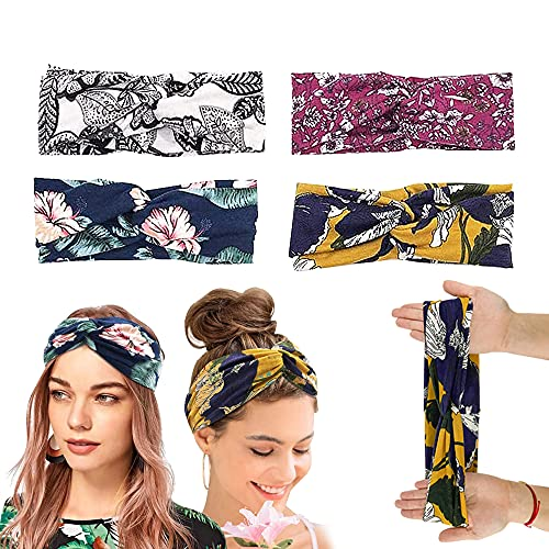 4 Stück Blumen Haarband Damen Sommer, XCOZU Boho Stirnband Damen Mädchen Turban Haarband Knoten, Kopfband Baumwolle Elastisches Haarbänder Bandana Stirnbänder Headband für Yoga Sport Fitness