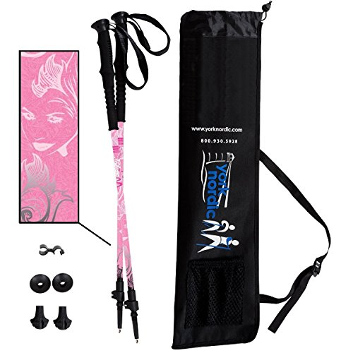 York Nordic Hiking & Walking Poles - Cushion Foam Hiking Grips - Lightweight, Adjustable, and Collapsible -2 Pieces Adjustable w/flip Locks, Detachable feet and Travel Bag (Pink)