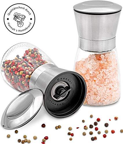 Hannah's Homebrand® Salz und Pfeffer Mühle mit Keramik-Mahlwerk (härter als Stahl) - Moderne Salzmühle und Pfeffermühle aus Edelstahl & Glas - deutsche Marke