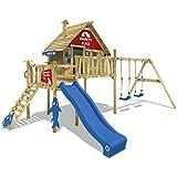 WICKEY Stelzenhaus Smart Bay Spielhaus Spielturm mit Doppelschaukel, blauer Rutsche, Veranda und...
