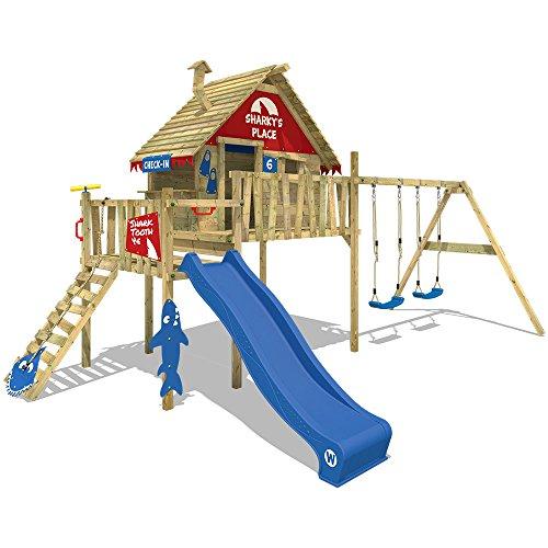 WICKEY Spielturm Klettergerüst Smart Bay mit Schaukel & blauer Rutsche, Stelzenhaus mit Kletterleiter & Spiel-Zubehör