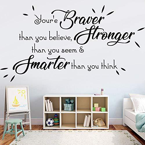 GHGXGJ Inspirational Wall Sticker Braver Stronger Smarter Quote Home Decor Nursery Kids Room Vinyl Study Room Interior Wall Stickers 157x84cm