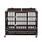 Sliverylake XL 37 Dog Crate Kennel Cage Pen Heavy Duty Double Two Door Pet Cage w/Metal Tray Wheels Exercise Playpen (37', Brown)