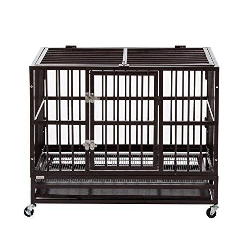 Bestmart INC Heavy Duty Dog Cage Crate Kennel Metal Pet Playpen Portable w/Tray