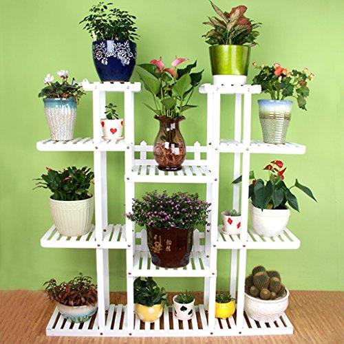 Étagères de porche Porte-pot à fleurs, 4 étagères à fleurs échelonnées avec roue Balcon Paratonnerre étagères en bois Rectangle Etagères multifonctions Support de plante de boîte à fleurs ( Couleur : White whith wheel , taille : 120*25*128CM )