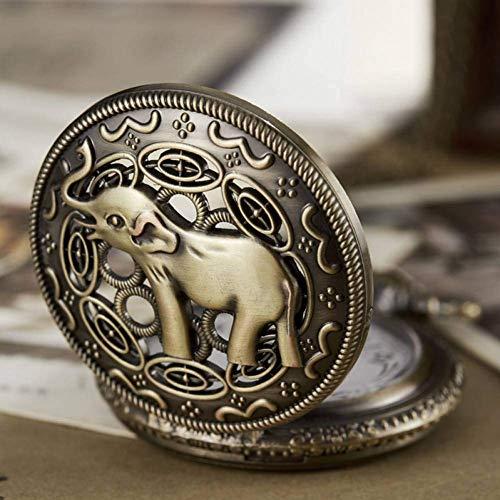 J-Love Reloj Bolsillo Retro, Reloj Bolsillo, Cadena Fob, pequeño Elefante, Reloj con Tapa, Reloj Vintage Bronce para Hombres, Mujeres, India, Reloj Animales para Regalos