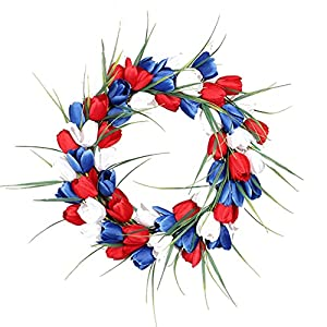 American Patriotic Tulip Silk Memorial Day & 4th of July Wreaths, Flower Garland Front Door Decor, July of 4th Independence Day Party Decor, Holiday Wedding, (Red White Blue, OneSize)