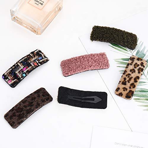 6PCS Hair Clips for Women Girls, Non-Slip Short Plush Snap Hair Barrettes Stylish Elegant Side Bangs Hairpins for Medium Thick Hair Accessory