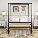 DUMEE Queen Size Metal Canopy Bed Frame with Headboard and Footboard Four Posters Platform Bed Frame, Mattress Support, No Box Spring Needed, Black