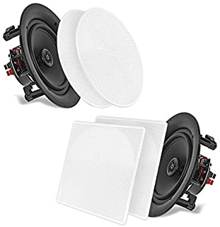 Pyle PDIC106 In-Wall/In-Ceiling 10.0-Inch Dual Stereo Speakers, 250 Watt, 2-Way, Flush Mount, White 6.5'' PDIC66