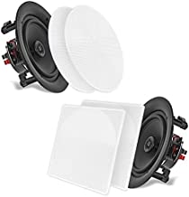"""Pyle 6.5"""" 2-Way Midbass Speakers - Pair of in-Wall/in-Ceiling Woofer Speaker System 1/2'' High Compliance Polymer Tweeter Flush Mount Design w/ 60Hz - 20kHz Frequency Response 200 Watts Peak - PDIC66"""