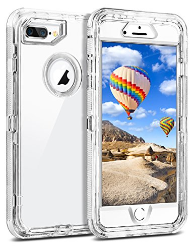 Coolden Case for iPhone 8 Plus Case iPhone 7 Plus Case Hybrid Clear Heavy Duty Protective Cover Dual Layer Hard Shell Shockproof TPU Case for 5.5 Inches iPhone 6 Plus 7 Plus 8 Plus, Transparent