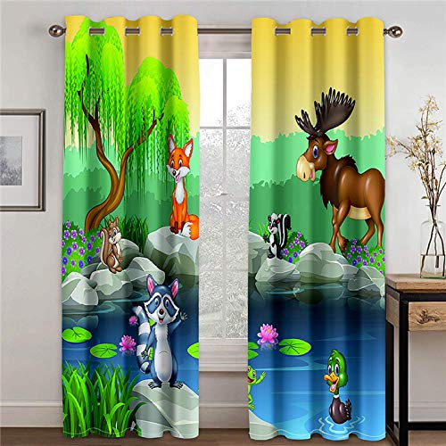 BWBJJ Opacas Cortinas 3D Animales de Dibujos Animados Super Soft Térmica Aislante Cortinas Poliéster Adecuado Balcon Salón Habitación Dormitorio Modernos Cortinas 2 x A75 x L166 cm
