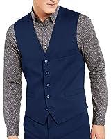 GAESHOW Men's Suit Vest, 1 Buttons Slim Fit Skinny Wedding Business Waistcoat Blue