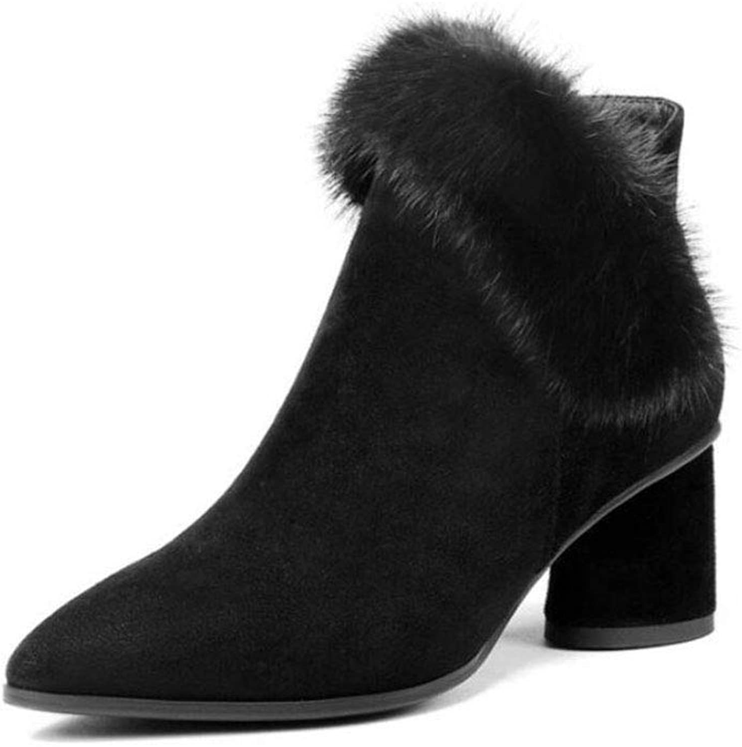Women's Bootie, Autumn Winter Womens shoes Simple and Comfortable Booties Pointed Thick with High-Heeled Temperament Ladies Boots (color   Black, Size   38)