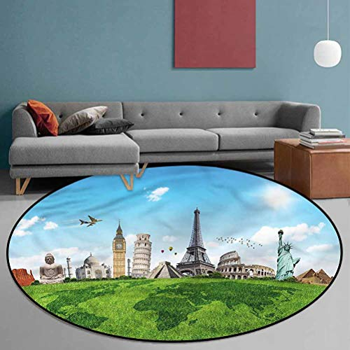 Map Polyester Chromatic Collection Round Rug for Bedroom Dorm Home Girls Kids Famous Monuments in World 5'2' in Diameter